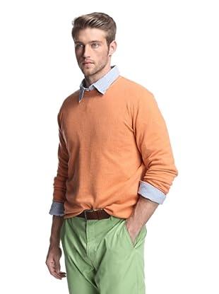 Kokun Men's Tipped Crewneck Sweater (Cantaloupe/Dark Grey)