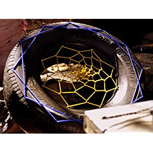 Uppsycled Recycled Single Tyre Pouf, Chair, Seat - Dreamcatcher (Blue and Yellow)