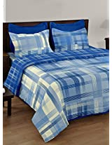 Bianca Castillo 180 TC Cotton Bedsheet with 2 Pillow Covers - King Size, Blue