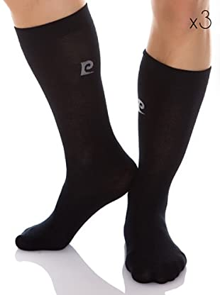 Pierre Cardin Pack 3 Pares Calcetines Altos (Negro)