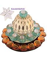 Ghasitaram Gifts Green Floating Light Diya with 400 gms Kaju Katli