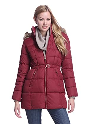 Laundry by Design Women's Cinched Puffer with Faux Fur Trim (Autumn Red)