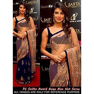 Celebrity Priyanka Chopra Style Blue-Beige Full Net Saree