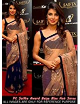 Bollywood Priyanka Chopra White Blue Designer Saree