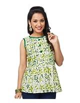 Enah Women's Cotton Green Batik Peplum Top Large (132 / Top / Green-Large)