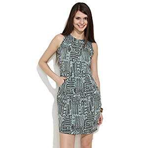 Aztec Printed Dress-Black-M