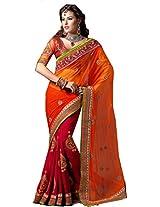 SareeStudio Orange Maroon Wedding Wear Resham Booti Work Georgette Sari