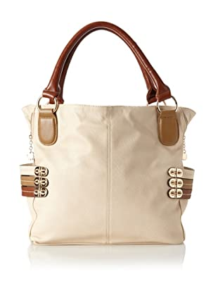 Melie Bianco Women's Evelyn Tote Bag with Tri-Colored Straps, Beige