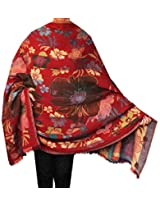 Womens Paisley Boiled Wool Shawl Wrap Gift India Clothes (78 x 42 inches)