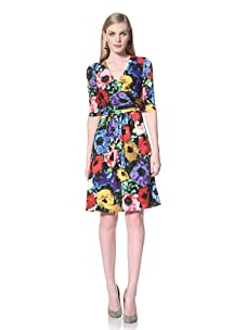 Ellen Tracy Women's Floral Print Dress with Elbow Sleeves (Floral)
