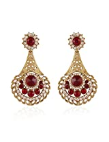 I Jewels Traditional Gold Plated Chand Shaped Stone Earrings for Women E2248M (Maroon)