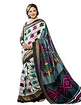 Brijraj Esha Deol, Cream Gray Black Bhagalpuri Silk Beautifull Printed Saree With Unstitch Blouse