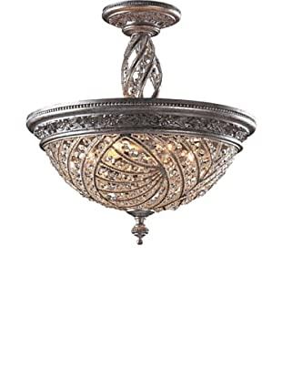 ELK Lighting Renaissance 6-Light Semi Flush-Mount Ceiling Fixture with Crystal Accents, Sunset Silver