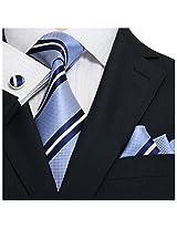 Landisun Stripes Mens Silk Tie Set: Tie+Hanky+Cufflinks 18A44 White Blue, 3.25