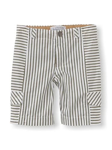 LA Lounge Boy's Striped Cargo Shorts (Safari Green)