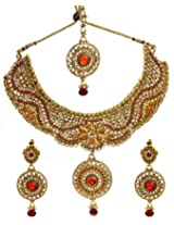 Exotic India Bridal Chokar Necklace Set With Earrings and Mang Tika - Copper Alloy with Cut Glass