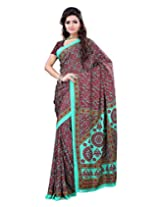 Surat Tex Red & Green Crepe Daily Wear Printed Sarees With Blouse Piece-E587SE1005DSP