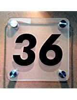 Squarica - House Number Sign - Frosted Back - 11 cms x 11 cms