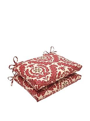 Waverly Sun-n-Shade Set of 2 Meridian Henna Seat Cushion (Red/Brown/Tan)