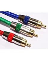 Pure OFC Gold Plated RGB (Red Green Blue) Plugs Component Video Cable 1.5m