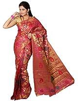 Mimosa Women Tassar Silk Saree with Blouse (3025-118-Tuss-Rani,  Pink)