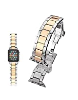 Apple Watch Band, Stainless Steel Classic Buckle Watch Strap Band Replacement Metal Clasp for Apple Watch Iwatch (Silver +Rose gold 38mm)