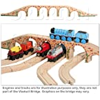 Orbrium Toys 6 Arches Viaduct Bridge for Wooden Railway Track Fits Thomas Trains Brio Chuggington se...