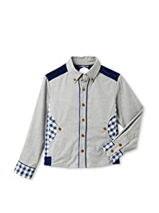 Kicokids Boys Buffalo Check Work Shirt (Pyrite/Royal)