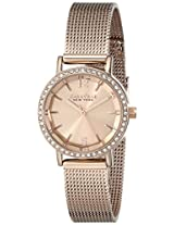 Caravelle by Bulova Crystal Analog Champagne Dial Women's Watch - 44L158