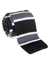 """Retreez Casual Preppy Stylish Stripe Men's 2.4"""" Skinny Knit Tie - Black and White and Grey"""