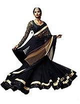 Anamis Black Net Lehenga Saree With Raw Silk Blouse