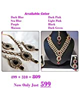 Combo offer pink stone dulhan necklace set