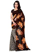 Silk Bazar Women's Faux Georgette Saree with Blouse Piece (Brown & White)