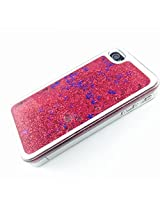 Phoenix Bling Sparkle Glitter Stars Dynamic Liquid Quicksand Clear Hard Case Frame for iPhone 4 4s 4g - Red