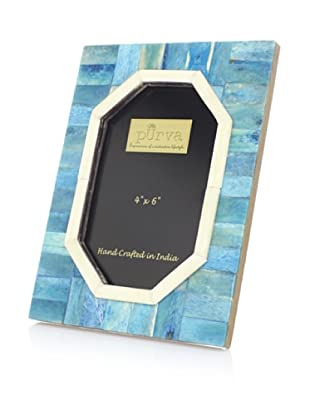 Purva Ocean Blue Hexagonal Cut Bone Photo Frame