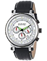 August Steiner Men's AS8085SS Quartz Chronograph Silver-tone Black Leather Strap Watch