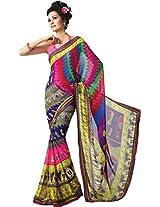 Pagli multi colour printed georgette saree with lace border.