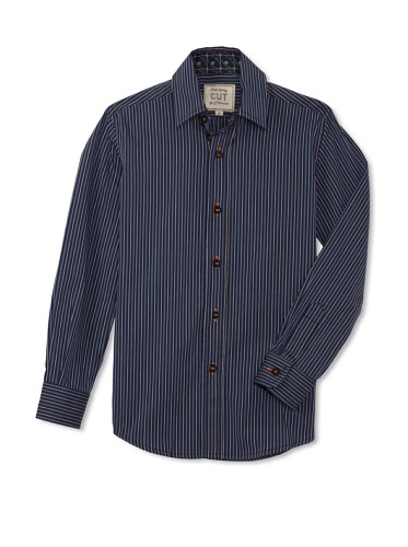 CUT By 2 Blondes Boys Raising The Bar Long-Sleeve Button-Up (Navy Stripe)