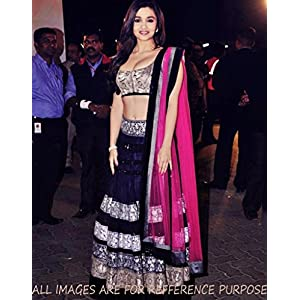 bollywood alia bhatt black pink lehenga