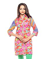 Purab Paschim women's Casual Printed TOMATO Kurti Rayon (Pleated) (OLT21624TO_XL)
