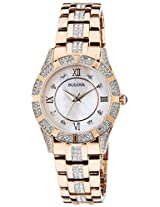 Bulova Crystal Analog Mother of Pearl Dial Women's Watch - 98L197
