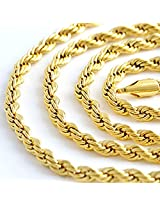 23.6in 4mm 24k Yellow Gold Plated Mens Necklace Chain Rope Necklace 35g