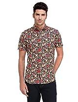 Edjoe Men's Flower Printed Slim fit Casual/Party Wear Shirt