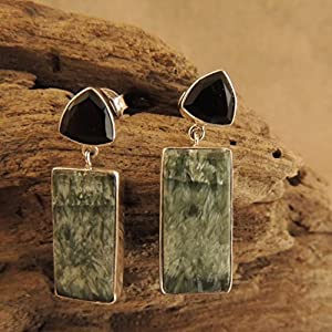 Flames of The Forest Black Onyx and Seraphinite set in Sterling Silver Earring