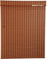 Art Wood Roll Up Blinds- Orange(4Ft Width X 4.5 ft Height)