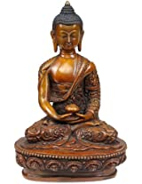 Exotic India Lord Buddha with Finely Carved Shawl - Copper Statue