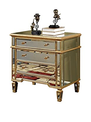 Florentine Small 3-Drawer Cabinet, Gold Leaf/Clear Mirror