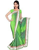 Kala Sanskruti Chiffon And Art Silk Bandhej Design Saree With Work [KSA3XI-65_Dark And Parrot Green]