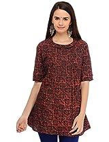 Aana Women's Cotton Regular Fit Kurti (ASKI065F044BBR, Brown, L)