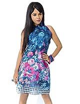 Garden Vareli Womens Crepe Halterneck Dress (Gardenvareli Western Dress 1020-B _Blue _Large)